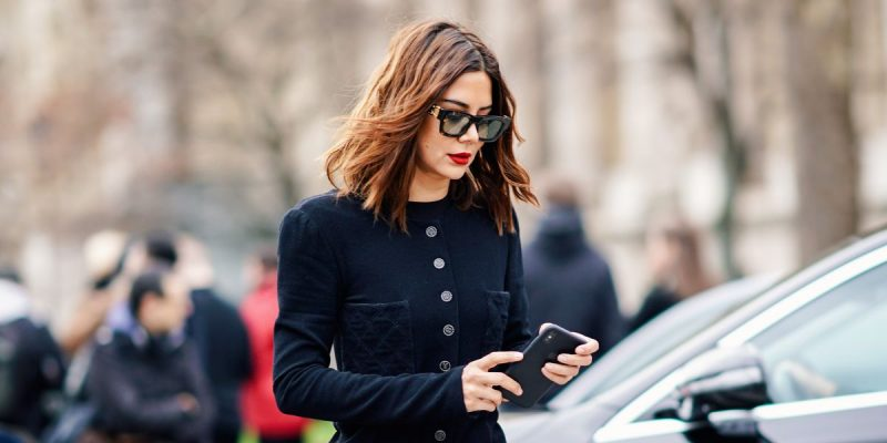 A woman talking on a cell phone